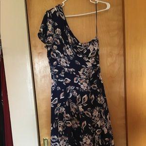 One shoulder, blue w/pink floral dress NWT!